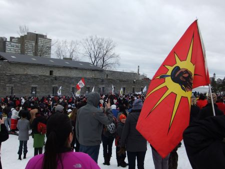 Nishiyuu Youth and Supporters on Victoria Island. Photo: Andy Crosby