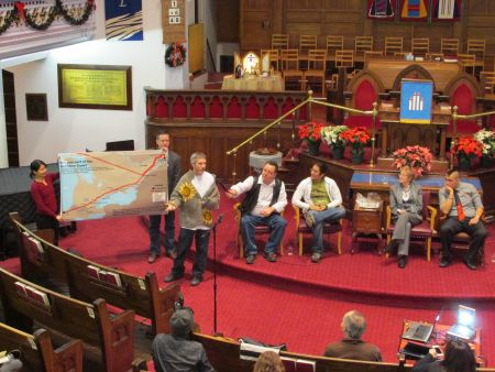 Line 9 panel discussion at Centretown United Church on Dec. 12        Photo: Andy Crosby