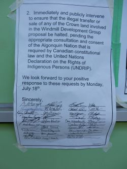 Photo of p2 of letter stuck to outside of McKenna's office, June 27